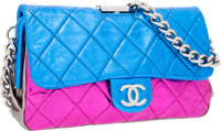 Chanel Metallic Blue, Pink & Gray Quilted Leather Flap Bag with Silver Hardware Excellent Condition