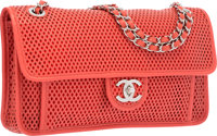 Chanel Red Perforated Lambskin Leather Up In The Air Flap Bag with Silver Hardware Excellent to Pristine Condit