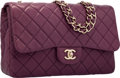 "Luxury Accessories:Bags, Chanel Purple Quilted Lambskin Leather Jumbo Single Flap Bag withSilver Hardware. Excellent Condition. 12"" Width x8""..."
