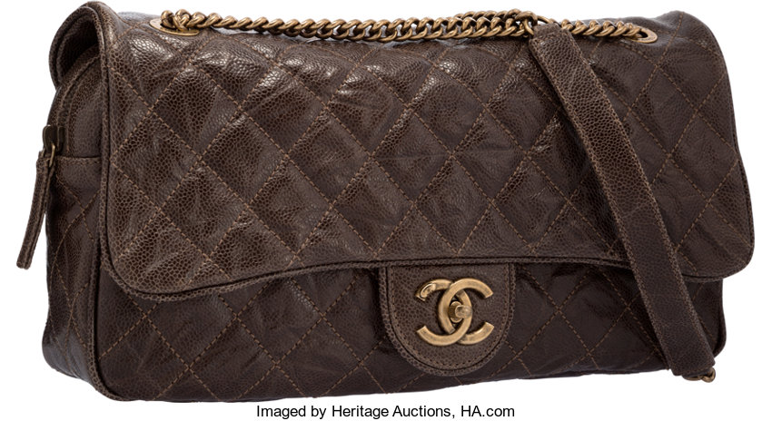 47bc5204059c Chanel Olive Green Quilted Distressed Caviar Leather Easy