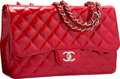 "Luxury Accessories:Bags, Chanel Red Quilted Patent Leather Jumbo Single Flap Bag with SilverHardware. Very Good to Excellent Condition. 12"" Wi..."