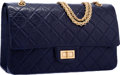 "Luxury Accessories:Bags, Chanel Navy Blue Quilted Distressed Leather Reissue Jumbo DoubleFlap Bag with Gold Hardware. Very Good Condition.12""..."