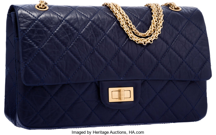 551d390ecf55d7 ... Luxury Accessories:Bags, Chanel Navy Blue Quilted Distressed Leather  Reissue Jumbo DoubleFlap Bag with ...