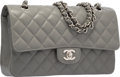 "Luxury Accessories:Bags, Chanel Gray Quilted Caviar Leather Medium Double Flap Bag withSilver Hardware. Excellent to Pristine Condition. 10""W..."
