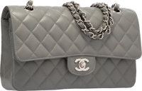 Chanel Gray Quilted Caviar Leather Medium Double Flap Bag with Silver Hardware Excellent to Pristine Condition<...