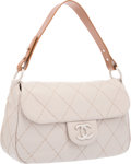 """Luxury Accessories:Bags, Chanel Beige Quilted Leather On The Road Flap Bag with SilverHardware. Excellent to Pristine Condition. 13"""" Width x7..."""