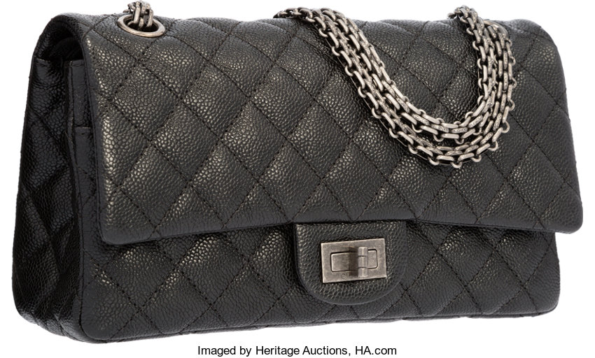 eb1bb4d5bc06 ... Luxury Accessories:Bags, Chanel Black Quilted Caviar Leather Reissue  Medium Double Flap Bagwith Gunmetal ...