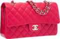 Luxury Accessories:Bags, Chanel Fuchsia Quilted Lambskin Leather Medium Double Flap Bag withSilver Hardware. Excellent to Pristine Condition. ...