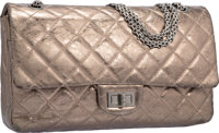 Chanel Bronze Metallic Quilted Distressed Leather Reissue Jumbo Double Flap Bag with Silver Hardware Very Good