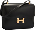 """Luxury Accessories:Bags, Hermes 34cm Black Calf Box Leather Single Gusset Constance Bag withGold Hardware. Good to Very Good Condition. 13"""" Wi..."""