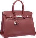 "Luxury Accessories:Bags, Hermes 35cm Rouge H Vache Liegee Leather Birkin Bag with PalladiumHardware . Very Good to Excellent Condition . 14""W..."