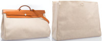 "Hermes Vache Naturelle & Toile Herbag TGM Bag with Palladium Hardware Very Good Condition 20"" Wid"