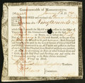 Colonial Notes:Massachusetts, Massachusetts Six Percent Treasury Certificate £9 13s 11d January1, 1782 Anderson MA-31 Very Fine, HOC.. ...