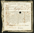 Colonial Notes:Massachusetts, Massachusetts Six Percent Treasury Certificate £8 5s 11d January 1,1782 Anderson MA-31 Extremely Fine, HOC.. ...