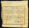 Colonial Notes:Pennsylvania, Pennsylvania Interest Bearing Certificate £100 August 17, 1780Anderson PA-2 Fine.. ...