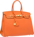 "Luxury Accessories:Bags, Hermes 35cm Orange H Clemence Leather Birkin Bag with Gold Hardware. Very Good Condition. 14"" Width x 10"" Height x 7"" ..."