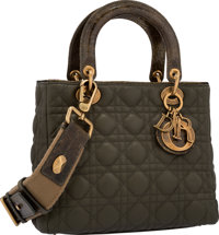 Christian Dior Limited Edition Green Crocodile & Cannage Leather Lady Dior Bag with Brass Hardware, 36/100 Exce...