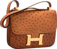 "Hermes 23cm Cognac Ostrich Single Gusset Constance Bag with Gold Hardware Good Condition 9"" Width"