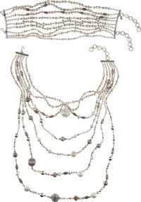 Christian Dior Couture Two-Piece Multi Strand Silver Masai Necklace by John Galliano, 1997 Excellent Condition<...
