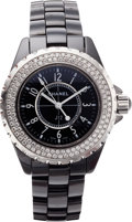 "Luxury Accessories:Accessories, Chanel Black Diamond & Gunmetal J12 Watch. Excellent Condition. 1.25"" Width. ..."