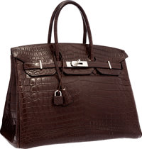 Hermes 35cm Matte Havane Nilo Crocodile Birkin Bag with Palladium Hardware Very Good Condition 14