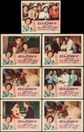 """Movie Posters:Drama, Glory & Other Lot (RKO, 1956). Lobby Cards (6) (11"""" X 14""""),Trimmed Lobby Card (11"""" X 13.25""""), & Three Sheet (41"""" X77.75"""").... (Total: 8 Items)"""