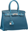 Luxury Accessories:Bags, Hermes Special Order 30cm Blue Thalassa & Blue Jean Clemence Leather Birkin Bag with Palladium Hardware. Very Good to Exce...