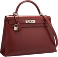 "Luxury Accessories:Bags, Hermes 32cm Rouge H Calf Box Leather Sellier Kelly Bag withPalladium Hardware. Good Condition. 12.5"" Width x 9""Heigh..."