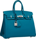 "Luxury Accessories:Bags, Hermes 25cm Blue Izmir Epsom Leather Birkin Bag with PalladiumHardware . Excellent Condition . 9.5"" Width x 8""Height..."