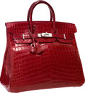 "Luxury Accessories:Bags, Hermes 32cm Matte Rouge H Nilo Crocodile HAC Birkin Bag with Palladium Hardware . Very Good Condition . 12.5"" Width x ..."