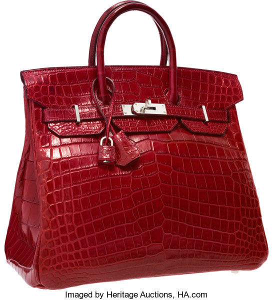 7bb3f556bb ... Luxury Accessories:Bags, Hermes 32cm Matte Rouge H Nilo Crocodile HAC  Birkin Bag withPalladium ...