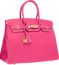 Hermes 35cm Rose Tyrien Epsom Leather Birkin Bag with Gold Hardware Excellent to Pristine Condition