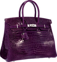 Hermes 35cm Shiny Amethyst Porosus Crocodile Birkin Bag with Palladium Hardware Excellent Condition