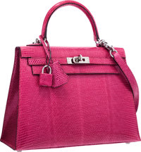 """Hermes 25cm Fuchsia Lizard Sellier Kelly Bag with Ruthenium Hardware Excellent Condition 10"""" Widt"""