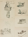 Books:Original Art, [Original Art]. Garth Williams. Group of Five Original SIGNED Ink Sketches Depicting Tombs and Grave Markers. Undated. ...