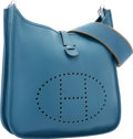 "Luxury Accessories:Bags, Hermes Blue Thalassa Clemence Leather Evelyne III PM Bag withPalladium Hardware. Very Good Condition. 11"" Width x12""..."