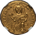 Ancients:Byzantine, Ancients: Basil I the Macedonian (AD 867-886), with Constantine. AVsolidus (20mm, 4.35 gm, 6h)....
