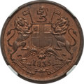 India:British India, India: British India. East India Company 1/2 Anna 1835-(B) MS65 Red and Brown NGC,...