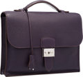 Luxury Accessories:Bags, Hermes 25cm Raisin Clemence Leather Sac a Depeches Single GussetBriefcase Bag with Palladium Hardware . Very Good to Exce...