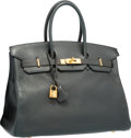 "Luxury Accessories:Bags, Hermes 35cm Graphite Clemence Leather Birkin Bag with Gold Hardware . Good to Very Good Condition . 14"" Width x 10"" He..."