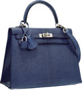 "Luxury Accessories:Bags, Hermes 25cm Blue Brighton Lizard Sellier Kelly Bag with PalladiumHardware. Pristine Condition. 10"" Width x 7"" Height..."
