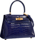 "Luxury Accessories:Bags, Hermes 20cm Shiny Blue Saphir Alligator Mini Sellier Kelly Bag with Gold Hardware. Good to Very Good Condition. 8"" Wid..."