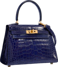 Hermes 20cm Shiny Blue Saphir Alligator Mini Sellier Kelly Bag with Gold Hardware Good to Very Good Condition</...