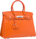 "Luxury Accessories:Bags, Hermes 30cm Tangerine Ostrich Birkin Bag with Palladium Hardware. Very Good to Excellent Condition. 12"" Width x 8"" Hei..."