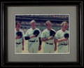 Baseball Collectibles:Photos, Billy Martin, Joe DiMaggio, Mickey Mantle and Whitey Ford MultiSigned Oversized Photograph....