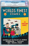 Golden Age (1938-1955):Superhero, World's Finest Comics #5 (DC, 1942) CGC FN+ 6.5 White pages....