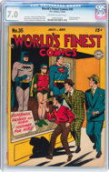 Golden Age (1938-1955):Superhero, World's Finest Comics #35 (DC, 1948) CGC FN/VF 7.0 Off-white to white pages....