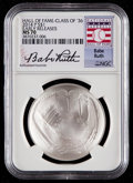 Baseball Collectibles:Others, 2014-P $1 Baseball Hall of Fame Silver Dollar, Class of '36, EarlyReleases, Babe Ruth Signature MS70 NGC. ...