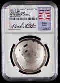 Baseball Collectibles:Others, 2014-P $1 Baseball Hall of Fame Silver Dollar, Class of '36, EarlyReleases, Babe Ruth Signature PF70 Ultra Cameo NGC. ...