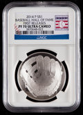 Baseball Collectibles:Others, 2014-P $1 Baseball Hall of Fame Silver Dollar, First Releases PF70Ultra Cameo NGC. ...
